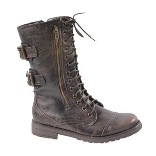 Newway by Beston Women's 'legend-02' Brown Combat Boots