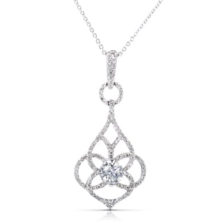 Annello 14k White Gold 1 1/4ct TDW Certified Diamond Floral Necklace (F-G, I1)