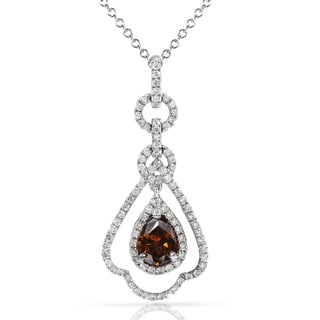 Annello 18k Gold 1ct TDW Certified Brown and White Diamond Necklace (G-H, VS2-SI1)