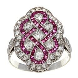 Platinum Ruby and 1ct TDW Diamond Art Deco Estate Ring (I-J, VS1-VS2)