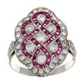 Platinum Ruby and 1ct TDW Diamond Art Deco Estate Ring (I-J, VS1-VS2)