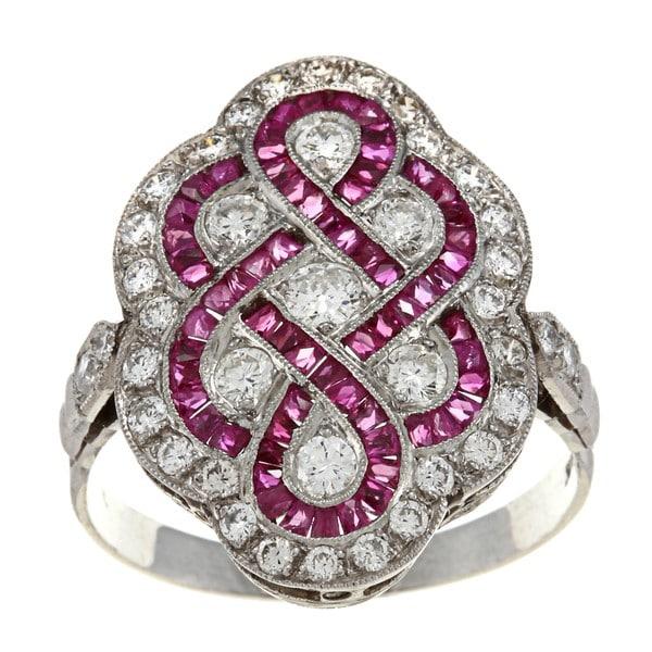 Pre-owned Platinum Ruby and 1ct TDW Diamond Art Deco Estate Ring (I-J, VS1-VS2)