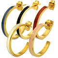 Goldplated Stainless Steel Colored Enamel Semi-hoop Earrings
