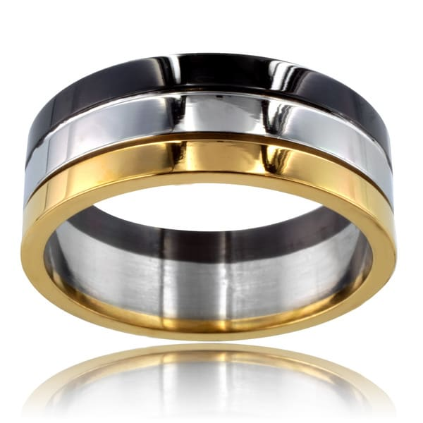 Tri-color Stainless Steel Grooved Ring