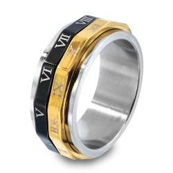Tri-color Stainless Steel Roman Numeral Spinner Ring