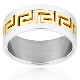 Two-tone Stainless Steel Greek Key Design Ring