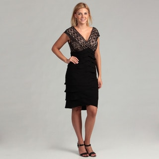 Jessica Howard Women's Black/ Tan Lace Plus Dress
