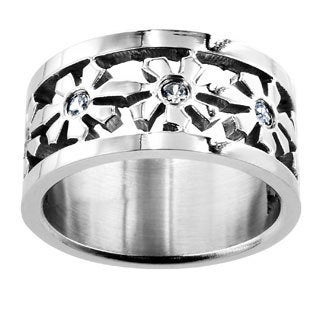 Stainless Steel Snow Flower Cubic Zirconia Ring