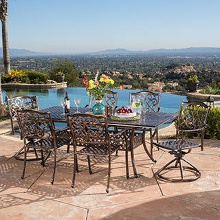 Christopher Knight Home Vallarta Expandable Cast Aluminum Dining Set (Set of 7)