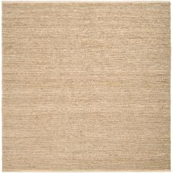 Hand-woven Beige Jawfish Natural Fiber Jute Rug (8' Square)