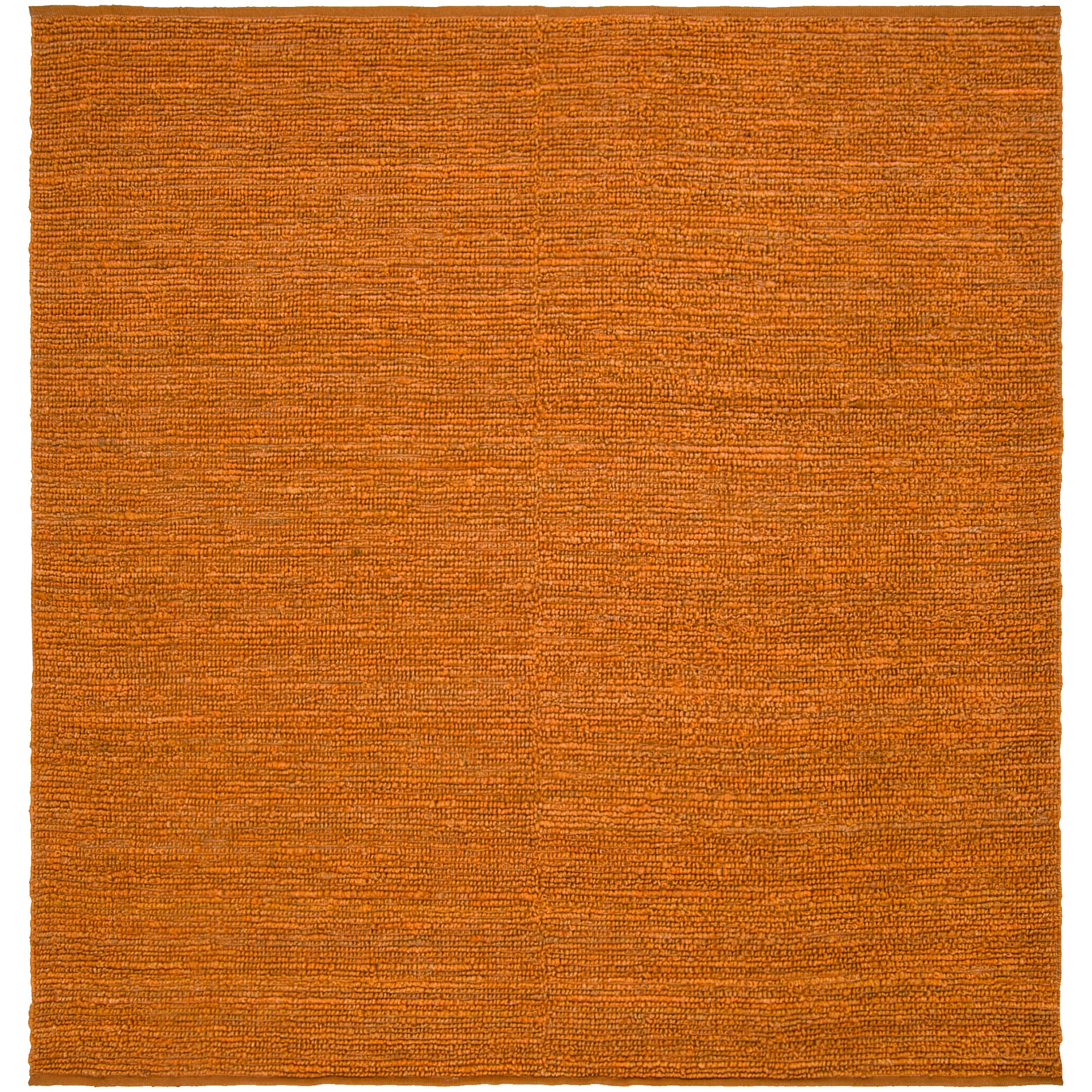 Hand-woven Orange Scorpione Natural Fiber Jute Rug (8' Square)