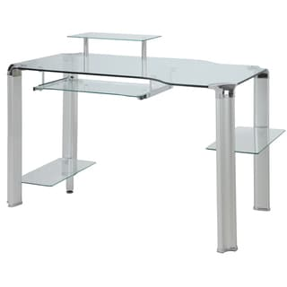 Innovex Clear Glass Computer Desk