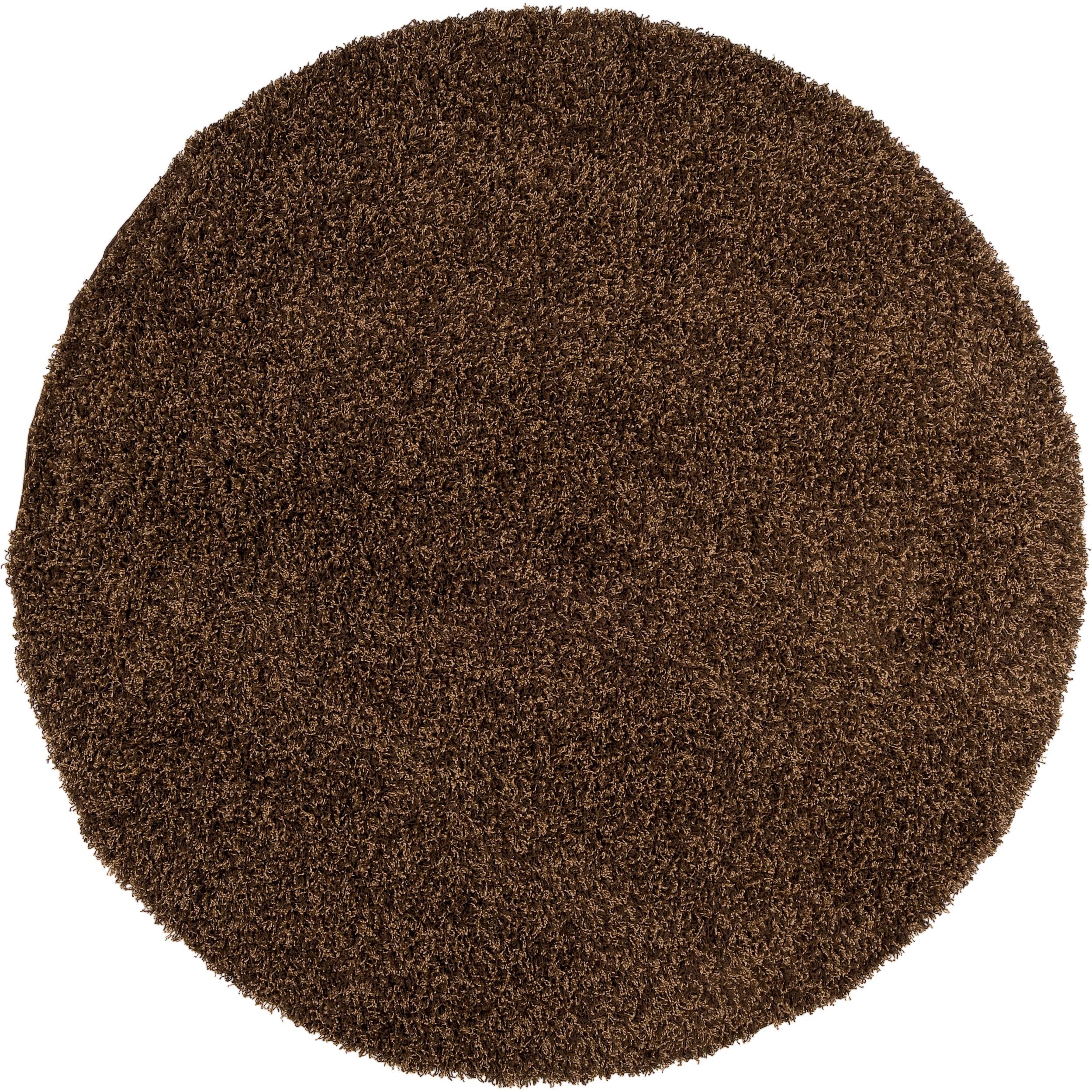 Woven Brown Conch Plush Shag (8' Round)