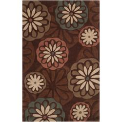 Hand-tufted Contemporary Brown Foxface Abstract Rug (9' x 13')