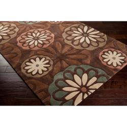 Hand-tufted Contemporary Tan Foxface Abstract Rug (9' x 13')