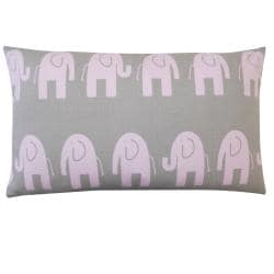 Kids Pink and Grey Elephant-print Rectangle Decorative Pillow