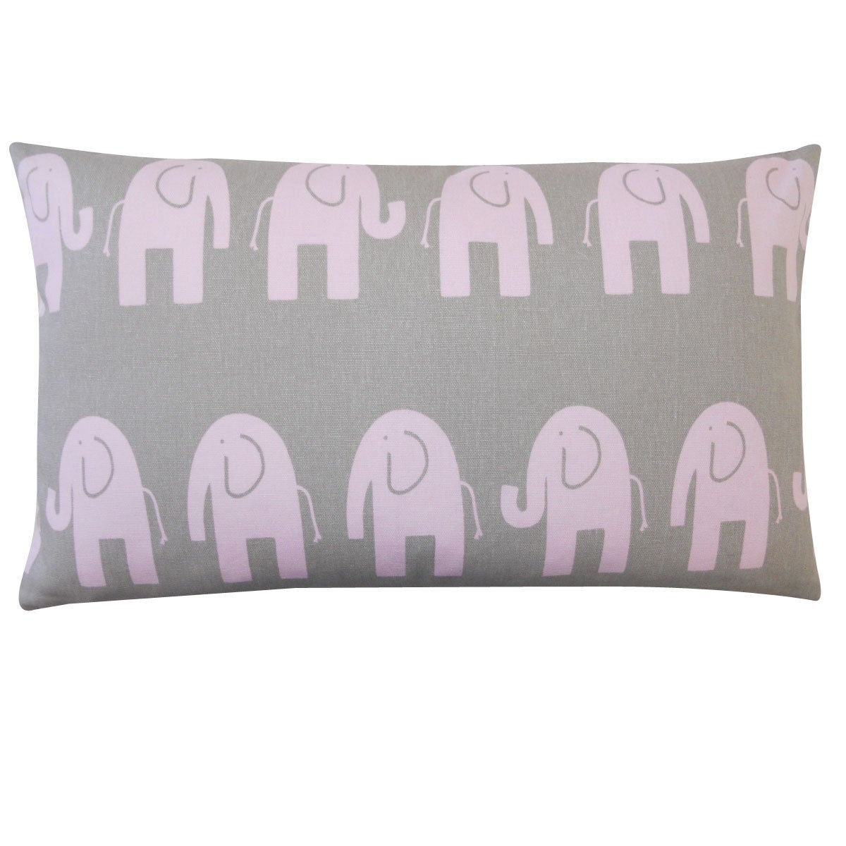 Jiti Kids Pink and Grey Elephant-print Rectangle Decorative Pillow
