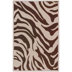 Hand-tufted Zebra Animal Print Wool Maser Rug (3'3 x 5'3)