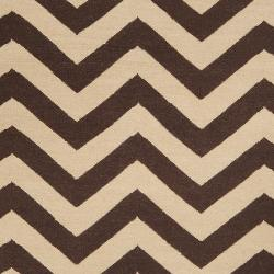 Hand-woven Brown Wool Barringer Rug (3'6 x 5'6)