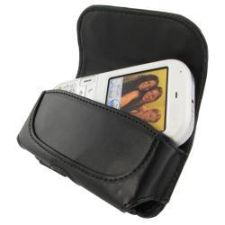 BasAcc Black Universal Horizontal Leather Case with Belt Clip for Samsung LG Motorola Models