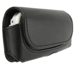 BasAcc Black Universal Horizontal Leather Case with Belt Clip for Samsung LG Motorola Models