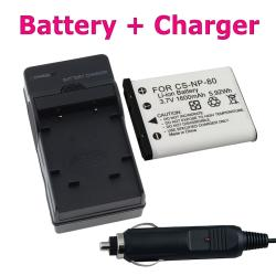 BasAcc Battery/ Charger Set for Casio EXILIM NP-80/ EX-S5/ EX-Z270