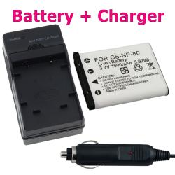 BasAcc Battery/ Charger Set for Casio Exilim NP-80/ EX-Z550/ EX-Z330