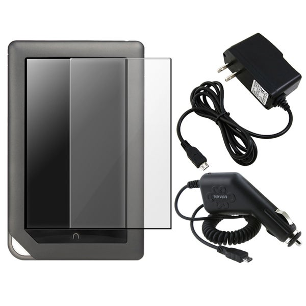 BasAcc LCD Screen Protector/ Chargers for Barnes & Noble Nook Color