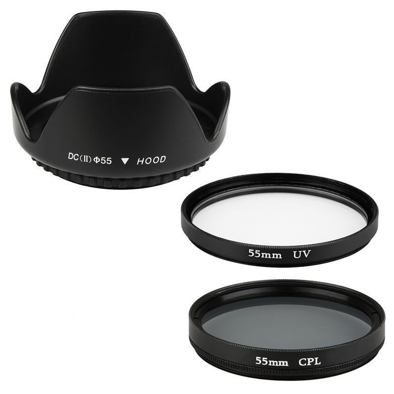 INSTEN Hood Cover/ Polarizing/ UV Filter for Canon T2i/ T1i/ Xsi
