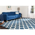 Hand-woven Blinov Blue MoroccanTrellis Flatweave Wool Area Rug