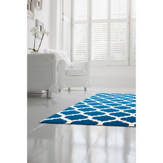 Hand-woven Blinov Navy Lattice Flatweave Wool  Rug
