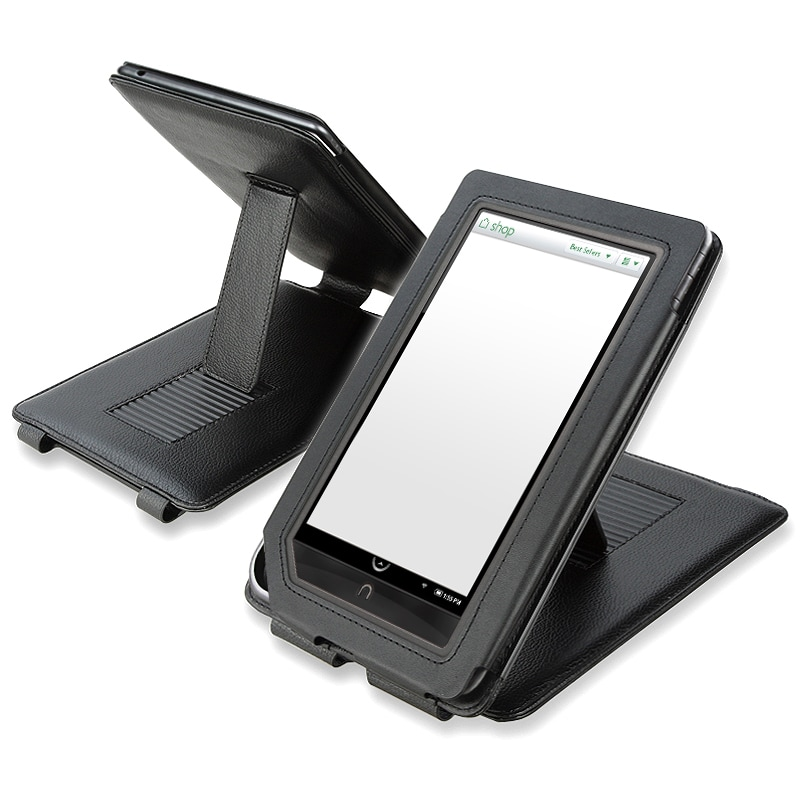 INSTEN Black Leather Phone Case Cover with Stand for Barnes and Noble Nook Color
