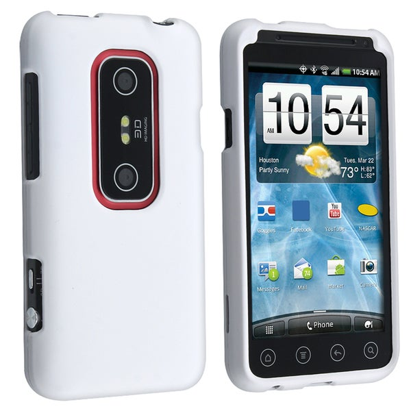 BasAcc White Rubber Coated Case for HTC EVO 3D