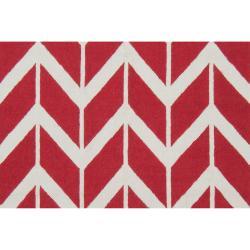 Jill Rosenwald Hand-woven Red Sasquatch Wool Rug (8' x 11')
