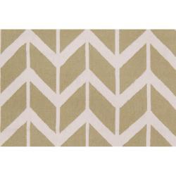 Jill Rosenwald Hand-woven Green Dikotter Wool Rug (5' x 8')
