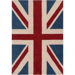 Hand-tufted Contemporary Union Jack Red Pipefish Abstract Rug (5' x 8')