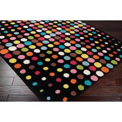 Tepper Jackson Hand-tufted Black Contemporary Multi Colored Circles Multi Colored Circles Andromeda Geometric Wool Rug (5' x 8')