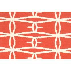Jill Rosenwald Hand-woven Orange Derze Wool Rug (5' x 8')