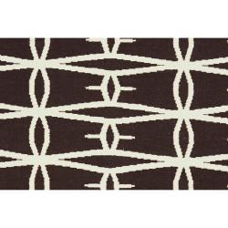Jill Rosenwald Hand-woven Espresso Zidee Wool Rug (5' x 8')