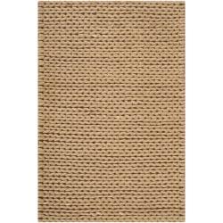 Hand-woven Beige Einstein New Zealand Wool Soft Braided Texture Rug (5' x 8')