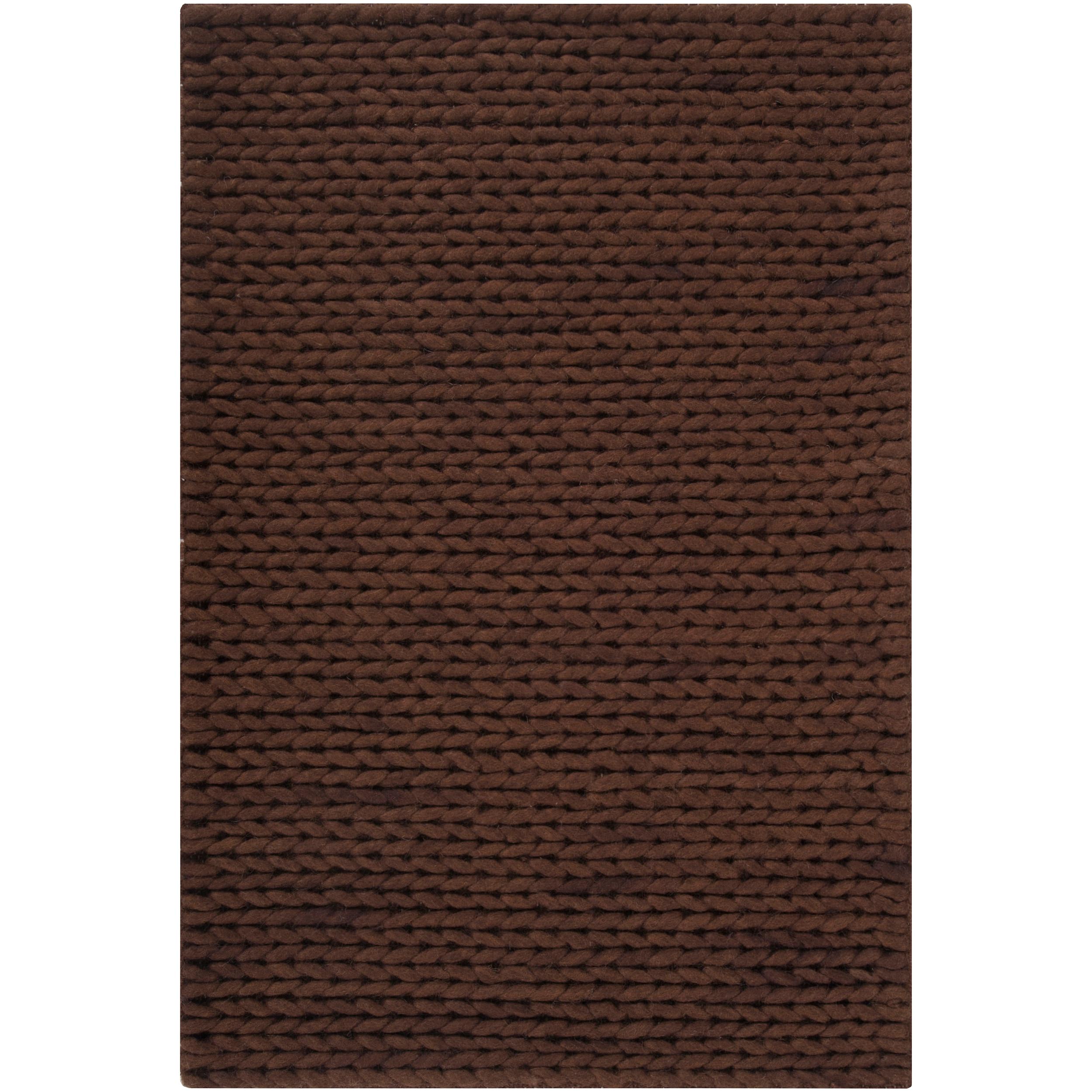 Hand-woven Brown Alva New Zealand Wool Soft Braided Texture Rug (8' x 10')