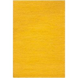 Hand-woven Yellow Vinci New Zealand Wool Soft Braided Texture Rug (5' x 8')