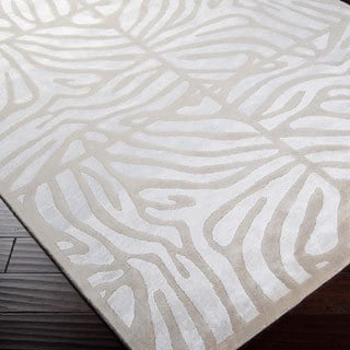 Candice Olson Hand-knotted Beige Tortoy White Animal Pattern Wool Rug (8' x 11')