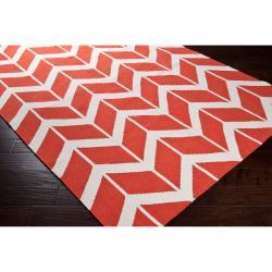Jill Rosenwald Hand-woven Orange Abada Wool Rug (8' x 11')