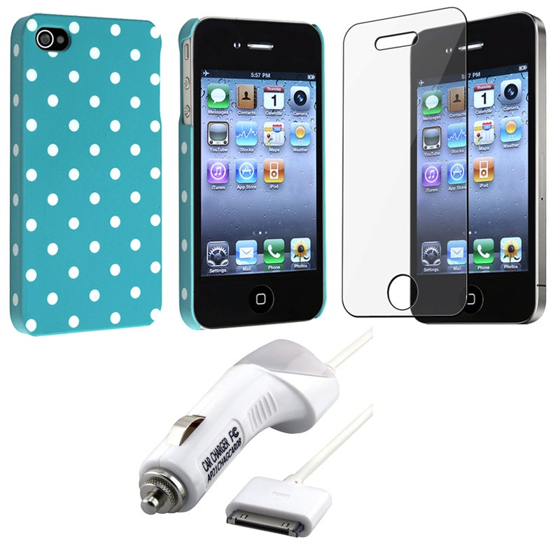 INSTEN Blue Dot Phone Case Cover/ Screen Protector/ Car Charger for Apple iPhone 4S