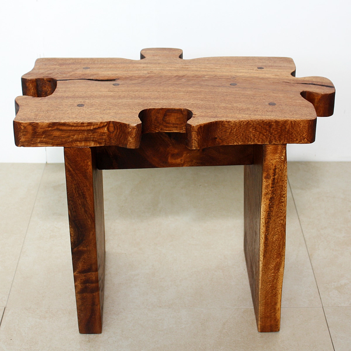 Hand-carved Wooden Puzzle Piece Stool (Thailand)
