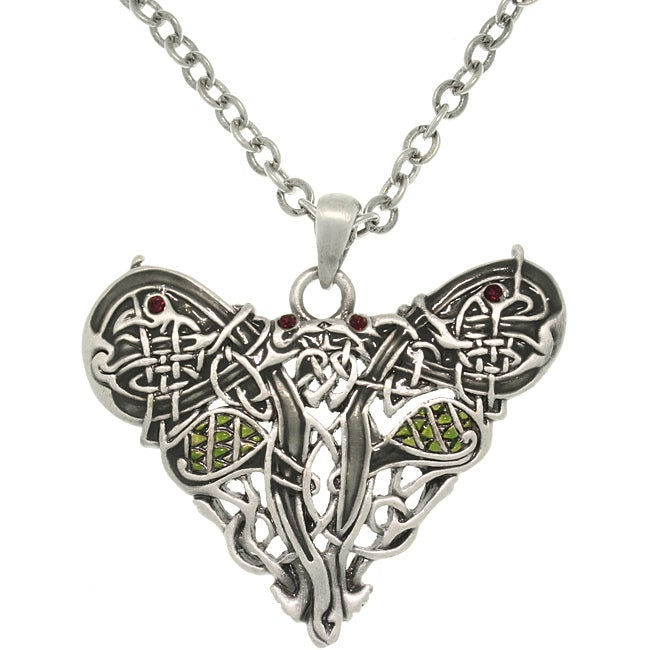 CGC Pewster Crystal Celtic Dragon Heart Necklace