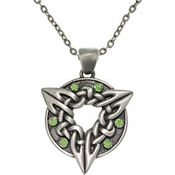 CGC Pewter Unisex Green Crystal Celtic Triquetra Circle Of Life Necklace