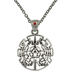 CGC Pewter Unisex Red Crystal Celtic Circle Necklace