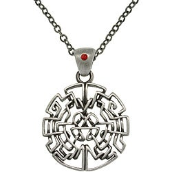 CGC Pewter Celtic Circle Maze Necklace with Red Crystal Accent